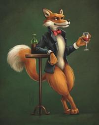 Renard et son verre de rouge