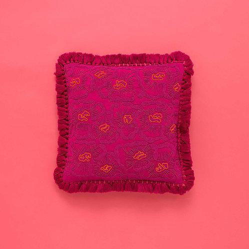 Pink Peony Beaded Cushion