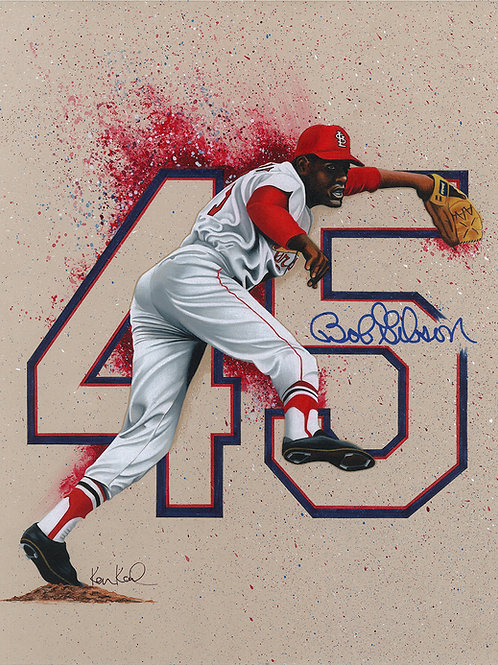 11X14 ORIGINAL mixed media drawing of Bob Gibson
