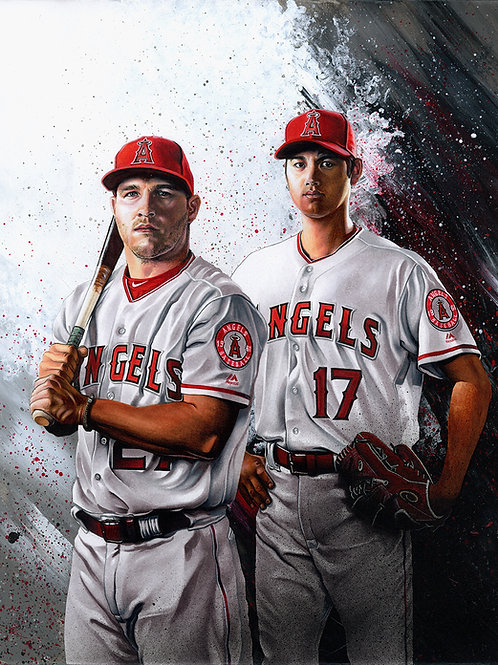 11x14 Limited Edition print of Angels Mike Trout and Shohei Ohtani