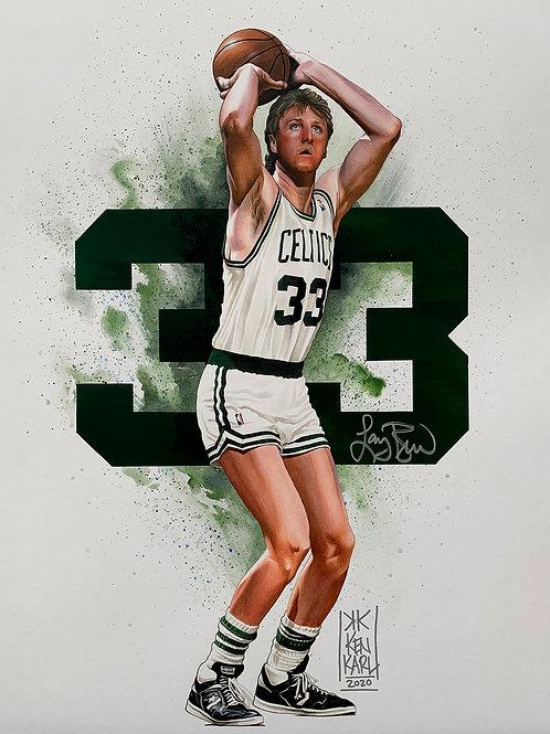 16x20 ORIGINAL mixed media drawing of Larry Bird