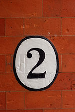 House number two painted in a white and