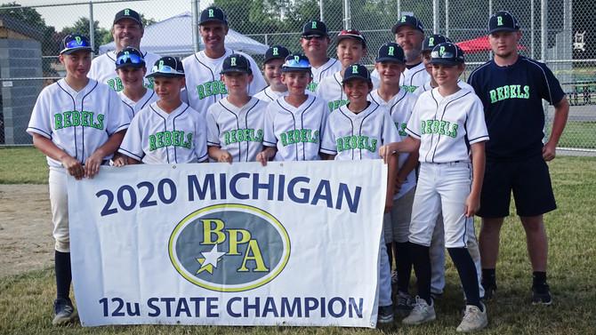 12U Rebels Baseball wins BPA State