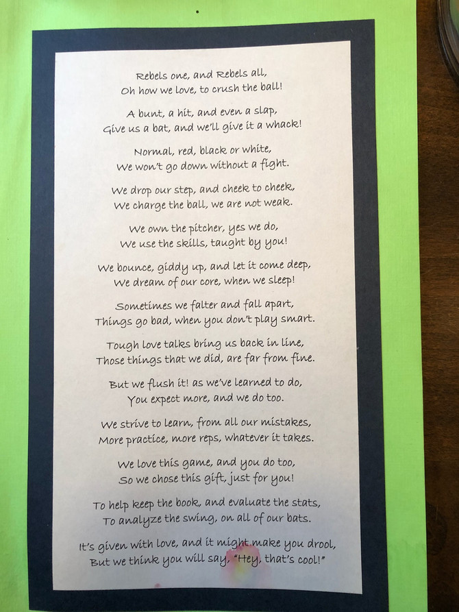 The First Rebels Softball Team Poem from their first year.