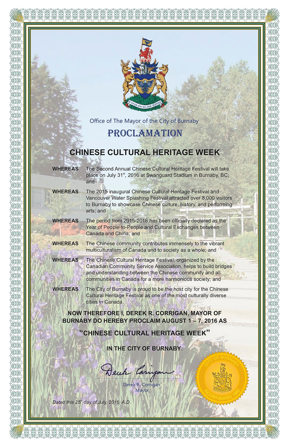 Chinese Cultural Heritage Week Proclamation
