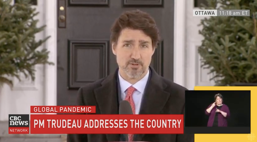 PM Trudeau was addressing the media on the 14th day of his self-isolation