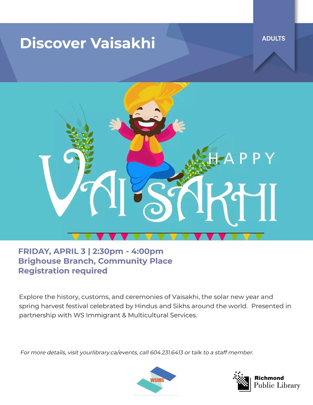 20200403 Discover Vaisakhi poster, organized by WS Immigrant and Multicultural Services Society