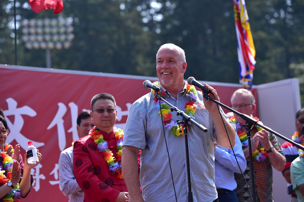 John Horgan, BC Premier was giving a speech
