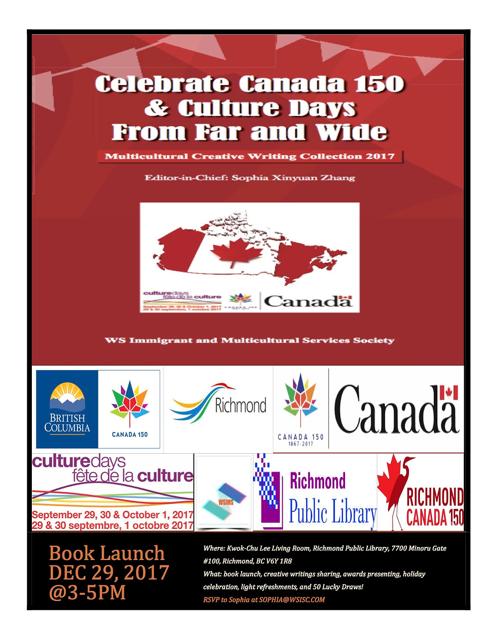 Celebration Canada 150 & Culture Days-Multicultural Creative Writing Collection 2017 Book Launch Poster