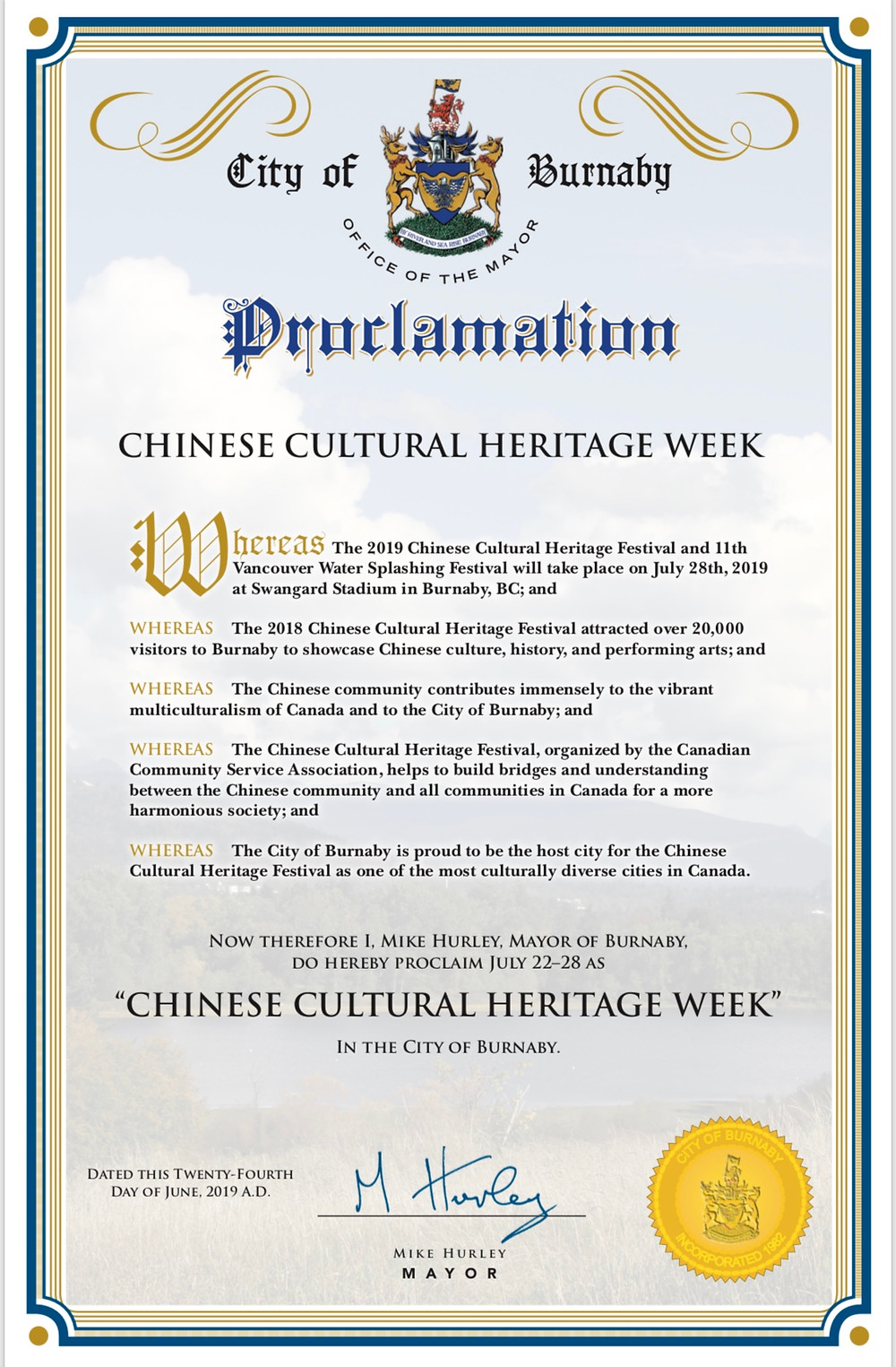 Proclamation Certificate of Chinese Cultural Heritage Week 2019
