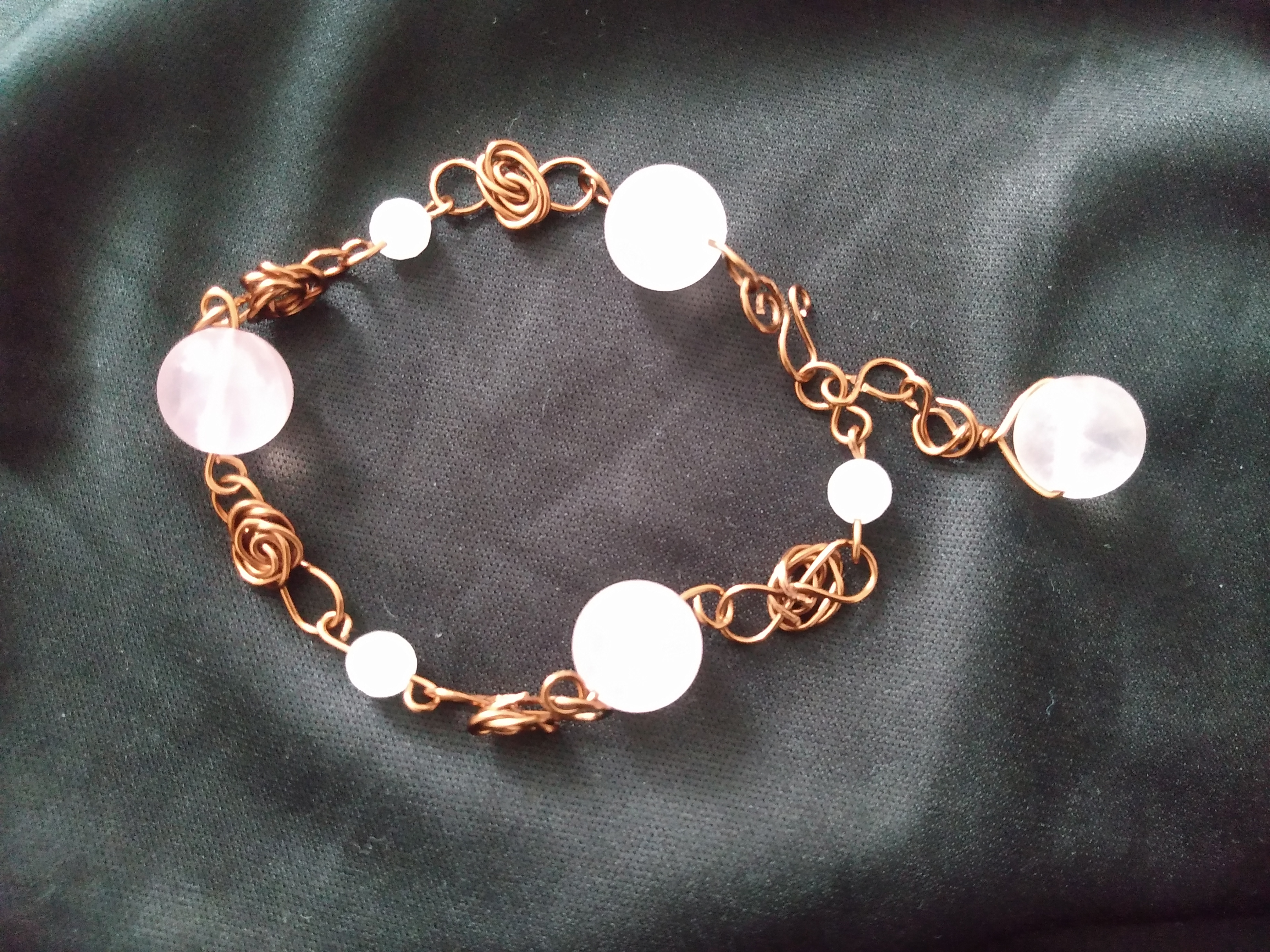Rose Quartz Crystal Flower Bracelet