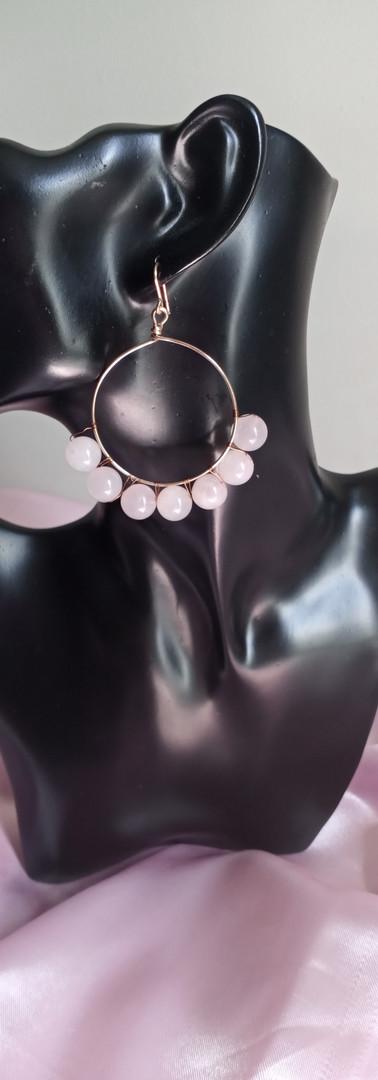 Rose Quarz Crystal Hoops
