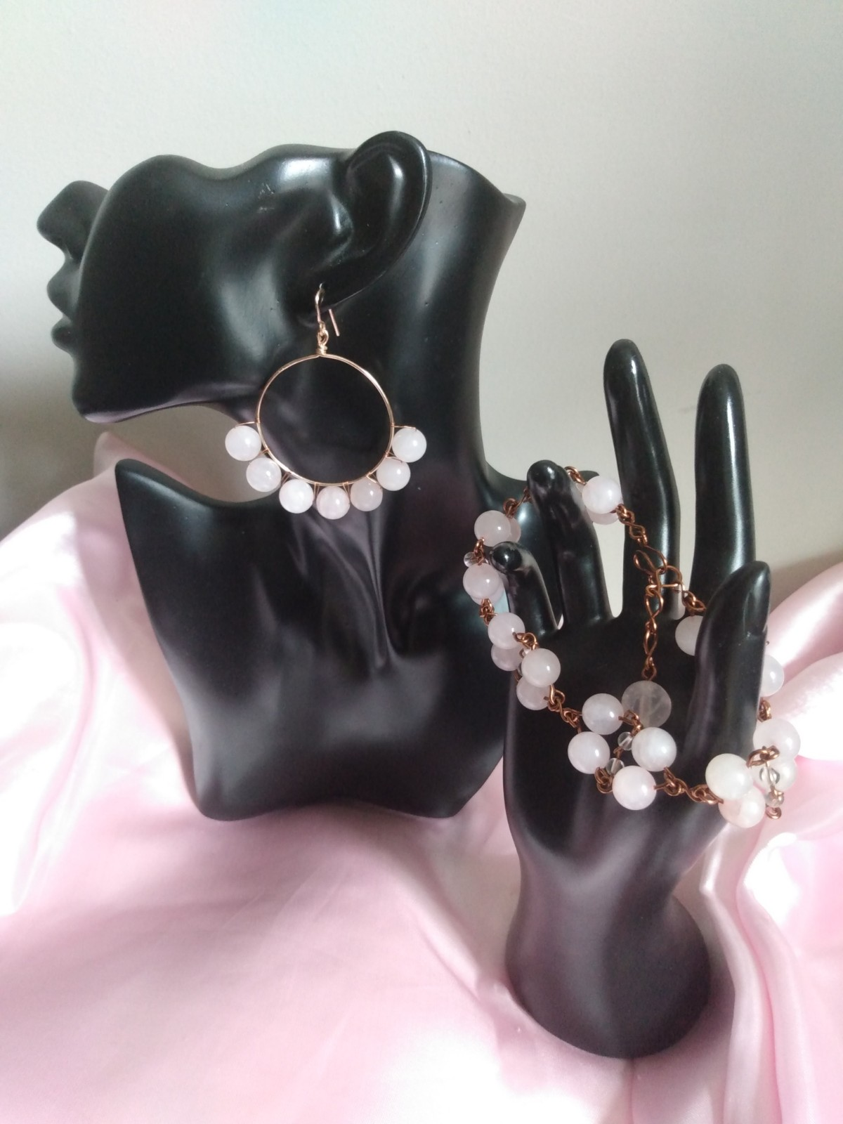 Rose Quartz Crystal Hoop Earring and Bracelet Set