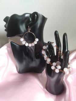 Rose Quartz Crystal Hoop Earring and Bracelet Set