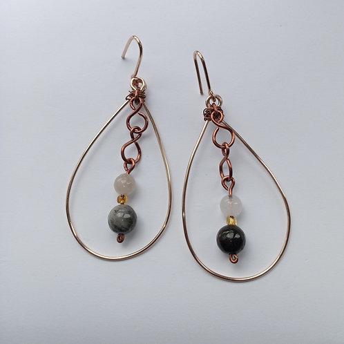 Routilated Quartz Chandelier Earrings