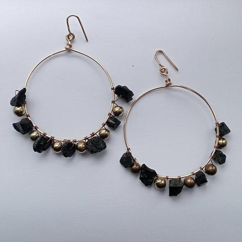 Black Tourmaline and Gold Hoop Earrings