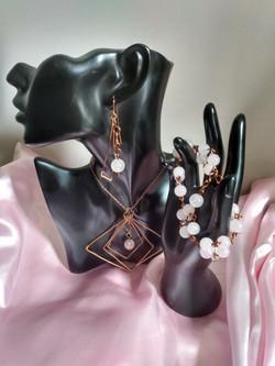 Rose Quartz Diamond Chandelier Earring, Bracelet, & Necklace Full Set