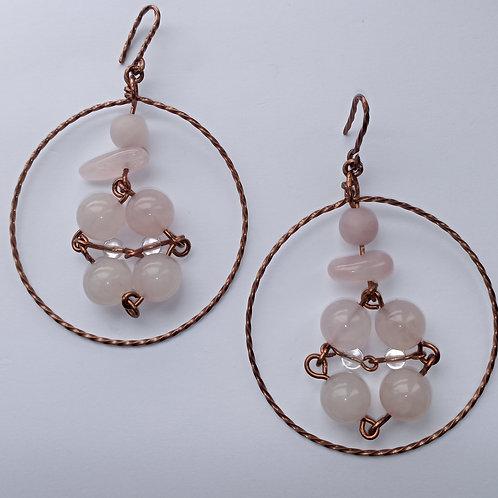 Rose Quartz Dangled Hoop Earrings