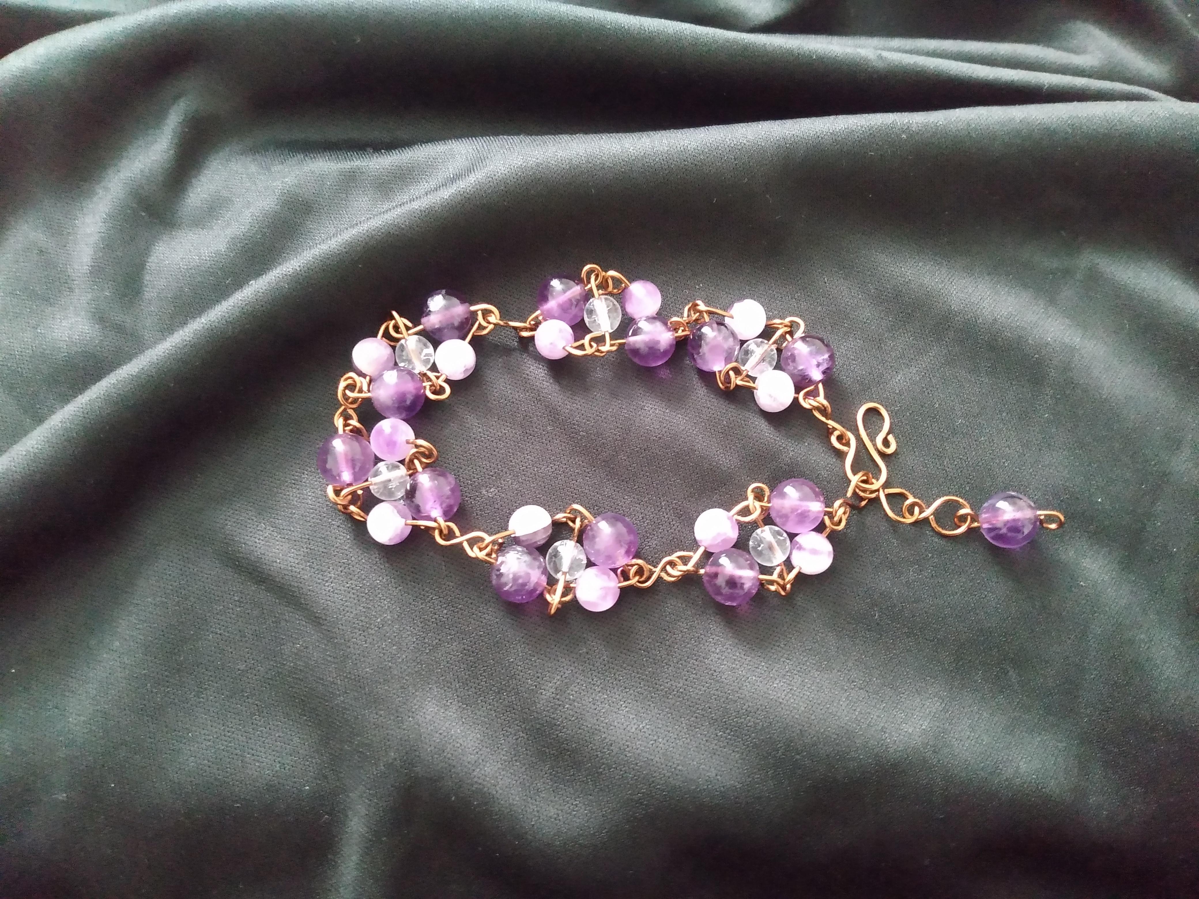 Amethyst Crystal Hoop Bracelet