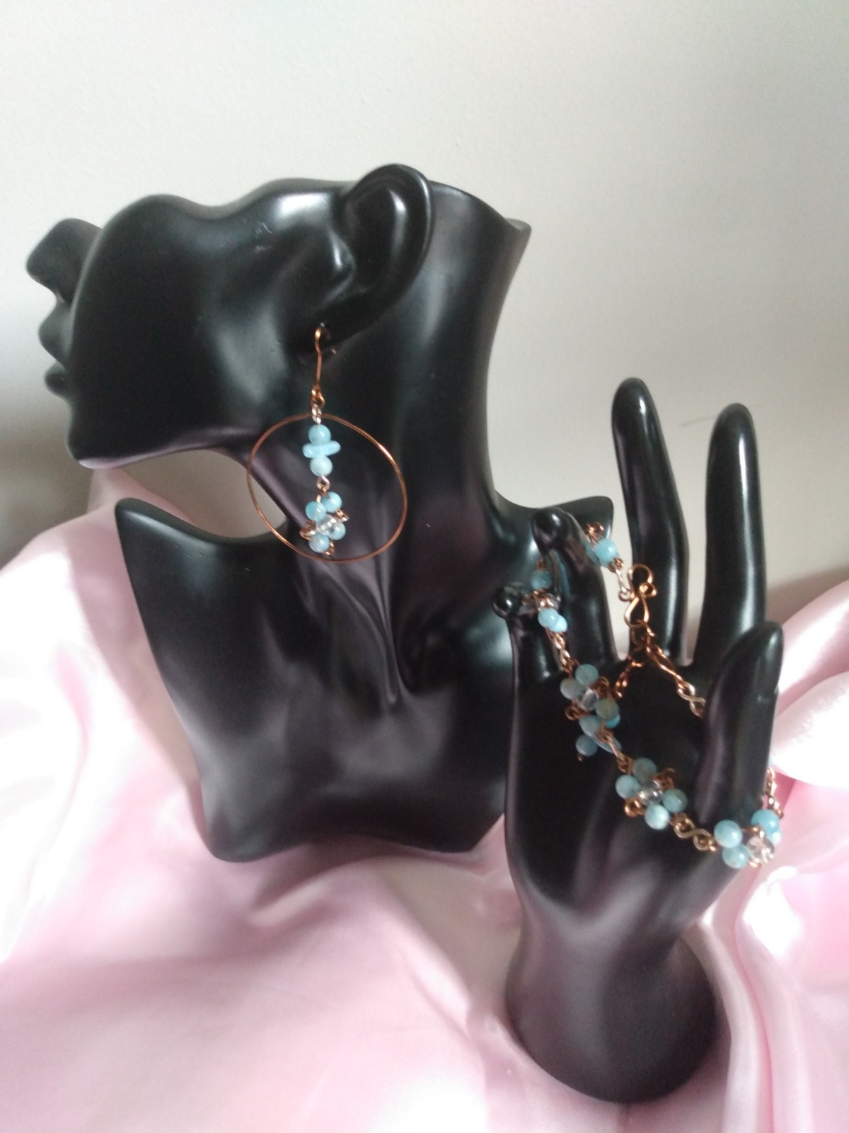 Aquamarine Crystal Hoop Earring & Bracelet Set