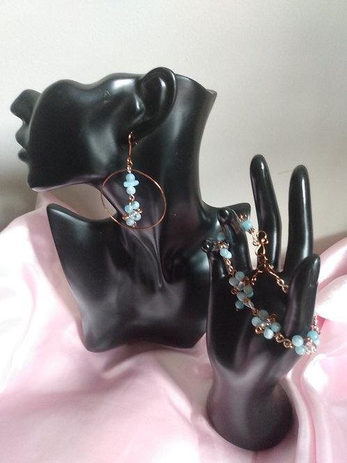 Aquamarine Crystal Dangled Hoop Earrings and Bracelet Set