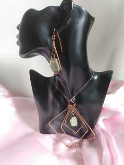 Citrine Crystal Diamond Chandelier Shape & Necklace Set