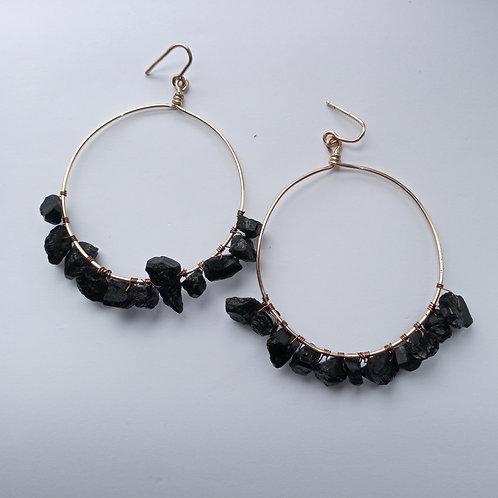 Black Tourmaline Hoop Earrings