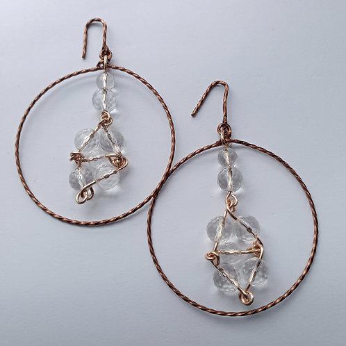 Clear Quartz Dangled Hoop Earrings