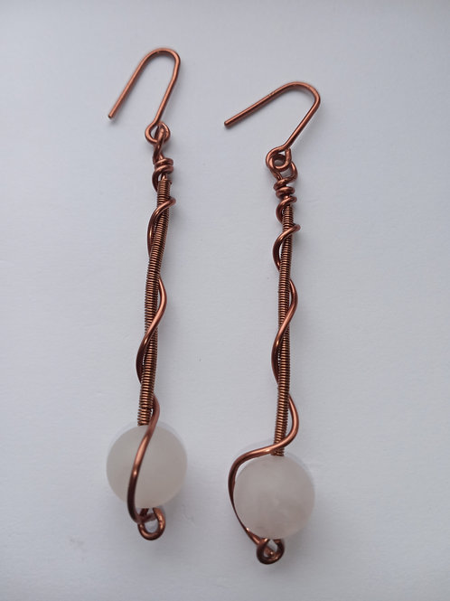 Rose Quartz Dropped Spiral Earrings