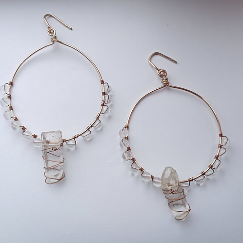 Clear Quartz Hoop Earrings