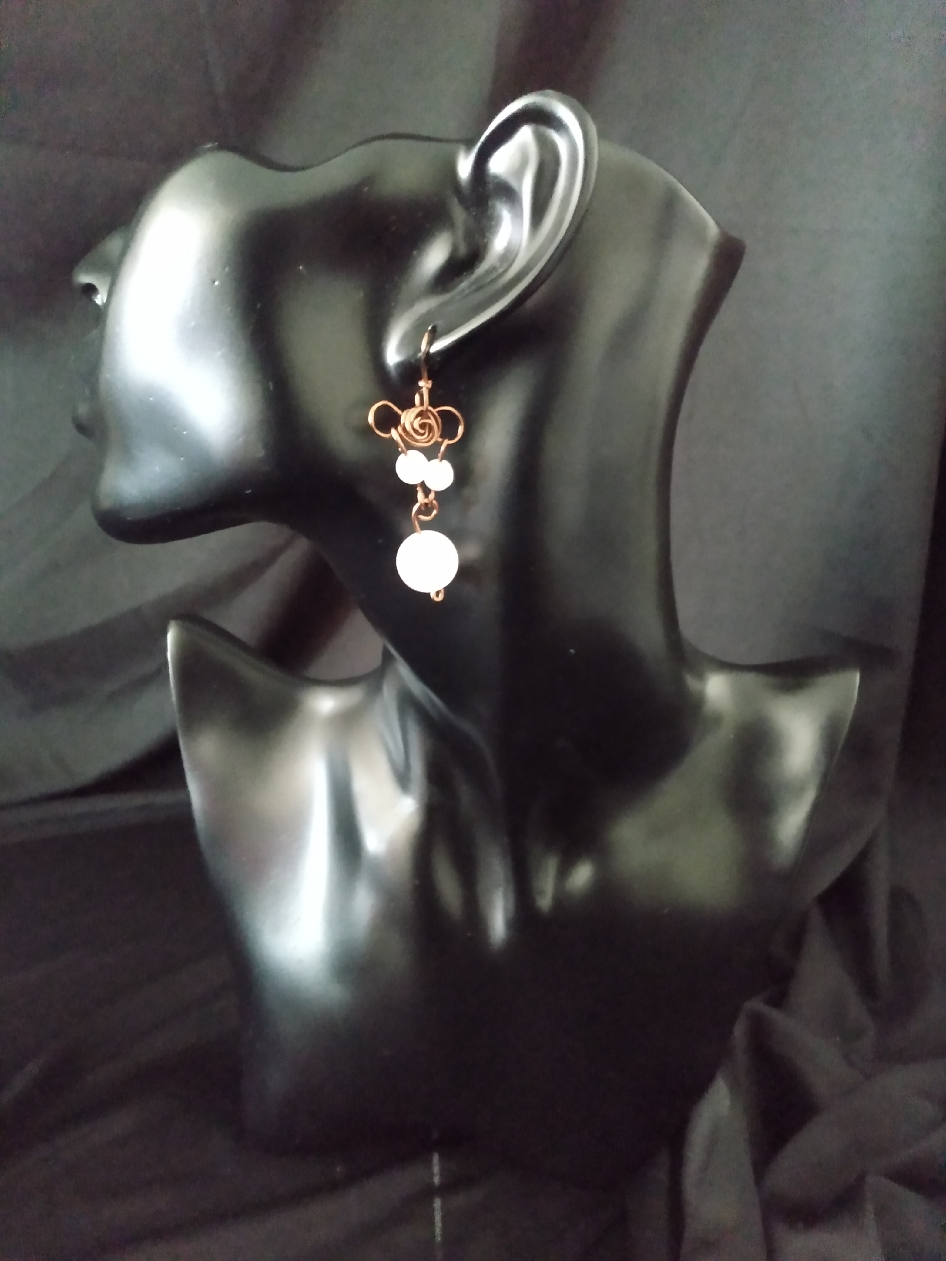 Rose Quartz Crystal Flower Earring