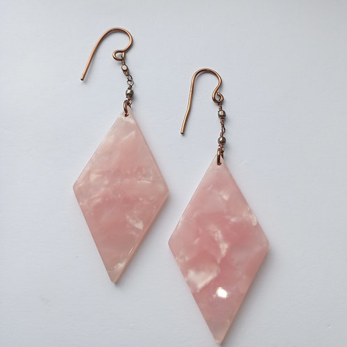 Diamond Shaped Pink Earrings