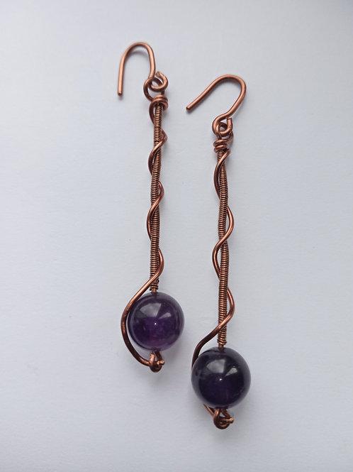 Amethyst Dropped Spiral Earrings
