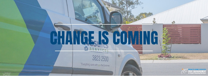 "Results Home Services van with text ""change is coming"""