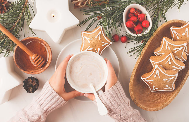 Christmas table setting with ginger cookies and cocoa. Christmas postcard. White backgroun