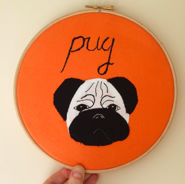 Hand Applique 'pug' hoop