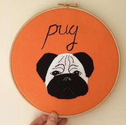 Hand Applique 'pug' hoop