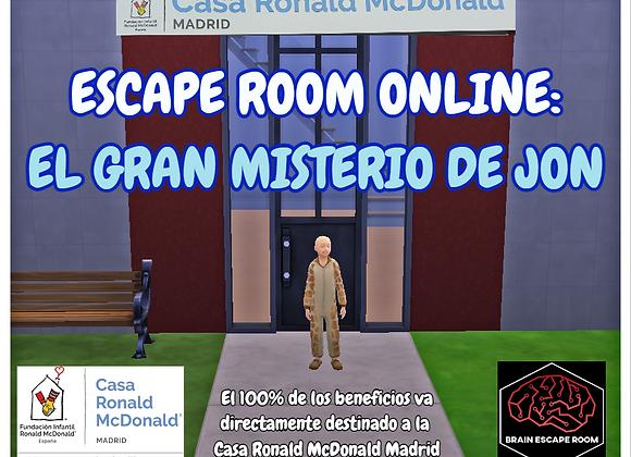 """Escape Room Solidario """"EL GRAN MISTERIO DE JON"""""""