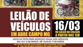 Detran realizará Leilão de Veículos em Abre Campo no dia 16/03