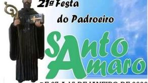 21ª Festa do Padroeiro Santo Amaro de Minas começa nesta terça-feira (07/01)