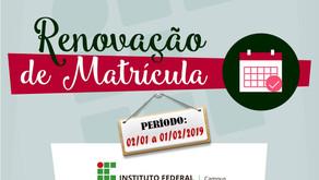 Prazo de renovação de matricula no IF Sudeste em Realeza termina nesta sexta (01/02)