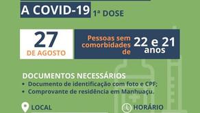 Pessoas de 22 e 21 anos serão vacinadas contra a Covid-19 nesta sexta-feira em Manhuaçu