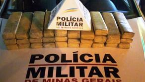 30 barras de maconha apreendidas e dois presos em Manhuaçu