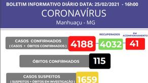 115 Óbitos por corona vírus em Manhuaçu