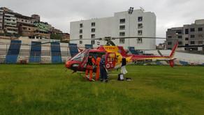 Helicóptero dos Bombeiros transfere paciente do SUS para BH
