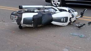 Vilanova: Corpo de Bombeiros atende vítima de acidente entre motocicleta e automóvel
