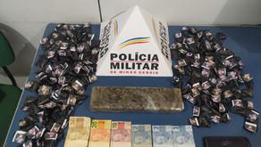 160 pinos de cocaína e barra de maconha em Realeza