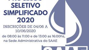 SAAE Manhuaçu abre processo seletivo para vagas temporárias