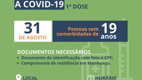 Pessoas de 19 anos serão vacinadas contra a Covid-19 nesta terça-feira em Manhuaçu