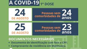 Pessoas de 24 e 23 anos serão vacinadas contra a Covid-19 nesta terça e quarta-feira em Manhuaçu